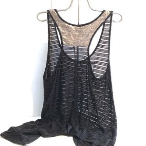 Lane Bryant 16 Black Sequin Mesh-like Tank